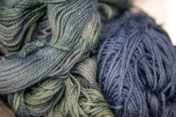 The colours of the indigo-dyed wool as it is exposed to air over time.