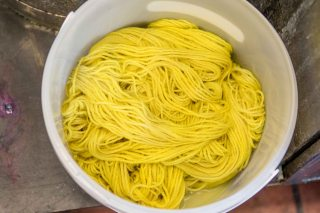 Weld-dyed wool fresh from the vat.