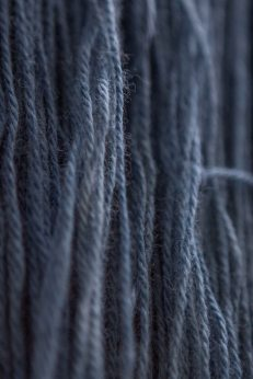 Indigo-dyed wool.