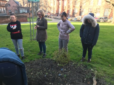 Participants at the garden plot.