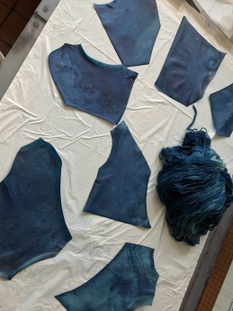 Indigo-dyed Parchment and Wool.